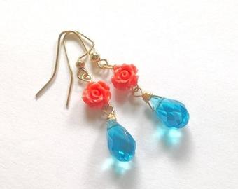 Peach Rose Earrings, Aqua blue Crystal, Dainty Spring Earrings, Gift For Her Under 20, Earrings Sale, Gift Wrap
