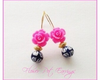 Pink Rose Gold Earrings, Ceramic Flower Earring, Blue, White, Fuchsia Gold Ear Wires, Easter Earrings Sale, Gift  for Her, Spring Jewelry