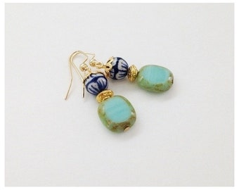 Mint Green Gold Earrings, Square Picasso Beads, Ceramic Beads, Blue White,  Earrings Under 20, Christmas Gift Idea, Spring Earring Sale