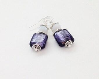 Purple Venetian Earrings, Dark Purple, Purple Square Earrings, Indigo, Crystal, Under 25, Purple Jewelry, Easter Earring Sale, Mother's Day