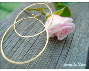 """Gold Semi-Oval Hoop Earrings, Hammered, 2"""" Hoops, 2.25"""" Hoops, Plain Thin Gold Hoops, Spring Earrings, Mother's Day Sale, Free Shipping"""
