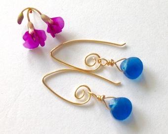Cobalt Blue Earrings, Gold Spiral Ear Wires, Wire Wrap Dangle, Blue Teardrop Crystal, Mother's Day Gift, Dainty Spring Earrings, Minimalist