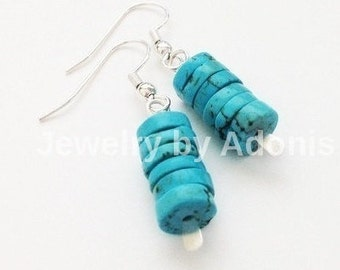Turquoise Earrings, Turquoise Silver, Gold, Dangle Earrings, Turquoise Jewelry, Stack Earrings,  Spring Sale, Gift Under 20