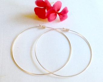 """Gold Slider Hoop Earrings, 1.5"""" inch Hoops 2.0"""" inch Hoops, 2.5"""" inch 3"""" inch, Thin Gold Hoops, Gift Idea, 4th of July Sale, Free Shipping"""