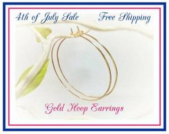 """Gold Hoop Earrings Sale, Hammered, Smooth, 2"""" Hoops, 2.25"""", 2.5"""" inch, 3"""", Plain Thin Gold Hoops, Big Hoops, 4th of July Sale, Free Shipping"""