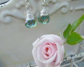 Aquamarine Crystal Earrings, Sterling Silver Wire Wrapped, Briolette Crystal Earrings, Easter, Mother's Day Earrings,  Gift for Her Under