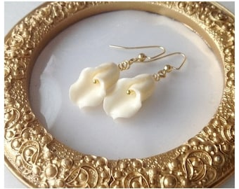 Gold Ivory Tulip Earrings, Spring Earrings, Mother's Day Gift Idea, Bridesmaid Gift Spring Sale, Easter Earrings