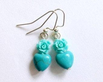 Turquoise Heart Earrings, Turquoise Rose Earrings, Girly Girl Flower Jewelry, Sale, Gift For Her  Under 20, Easter Earrings, Gift Box