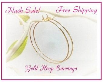 "Gold Hoop Earrings Sale, Hammered, Smooth,  2"" Hoops, 2.25"" Hoops,  2.5"" inch, 2.75"", 3"",  Plain Thin Gold Hoops, Big Hoops, Free Shipping"