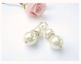 Ivory Pearl Earrings, Silver, Double Pearl Earrings, Elegant Bridesmaid Earrings Gift, Spring Wedding Jewelry, Set of 4, 6, 8, Gift Wrap