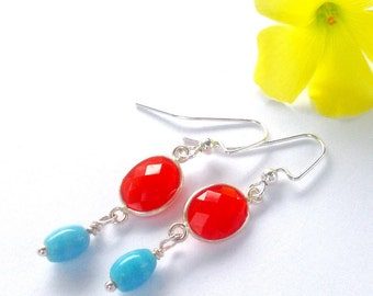 Carnelian Turquoise Earrings, Sterling Silver, Orange Gemstone, Dangle, Spring, Gift for Her,  Mother's Day Gift, Dainty
