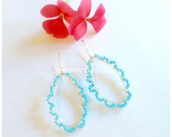 Turquoise Gold Hoop Earrings,  Beaded Hoops, Wire Wrapped, Dangle Earrings, Spring Earrings, Mother's Day Gift Sale, Fancy Hoops, Gift Wrap