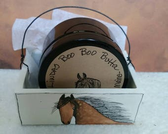 Homemade boo boo butta for horses and people ,in Handpainted box