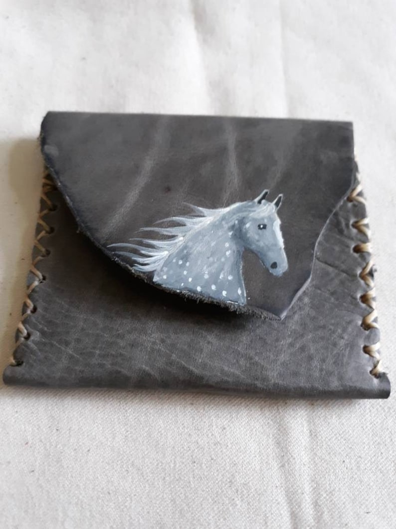 Handpainted soft leather purse