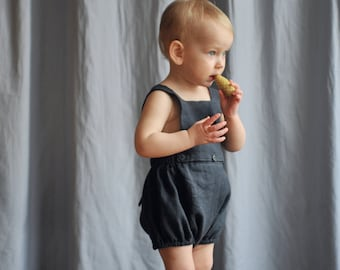 Baby / Toddler Girls Boys Dark Gray Linen Bib Shorts Pantaloons / Bloomers Bubble shorts Vintage Retro Style - 0-3-6-9-12-18-24 m 2-3-4-5-6T