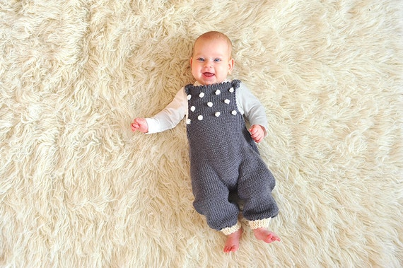 11e4fa86722a Hand knitted newborn baby girl boy overall dungarees jumpsuit