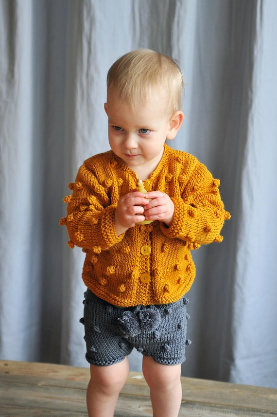 e1f6001c0 Baby   Toddler Girls Boys Hand Knitted Mustard Bobble Popcorn