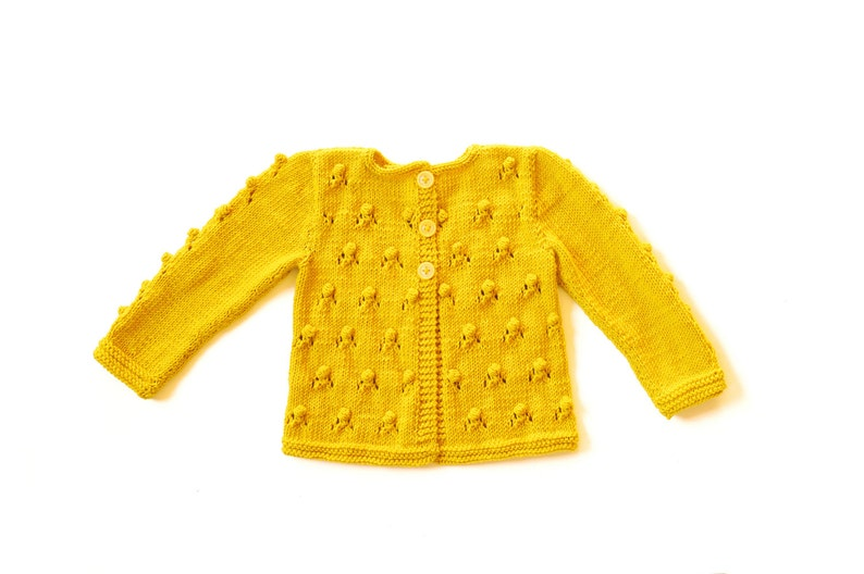cf5be1bfa834 Girls Sweater yellow Knitted cardigan wool jacket popcorn