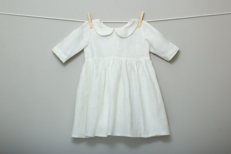 3d0954f3d8bf Childrens Baby Toddler Girls White Linen Dress White Collar
