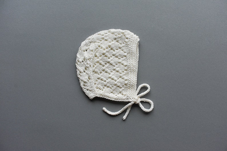 Newborn / Baby Toddler Boys / Girls Lace Bonnet knitted maize image 1