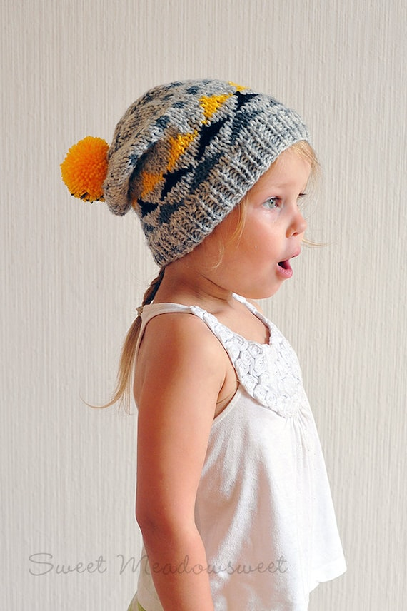 Toddler Baby Boy   Girl Hand Knitted Slouch Hat   Beanie Grey  2cc790da2f2d