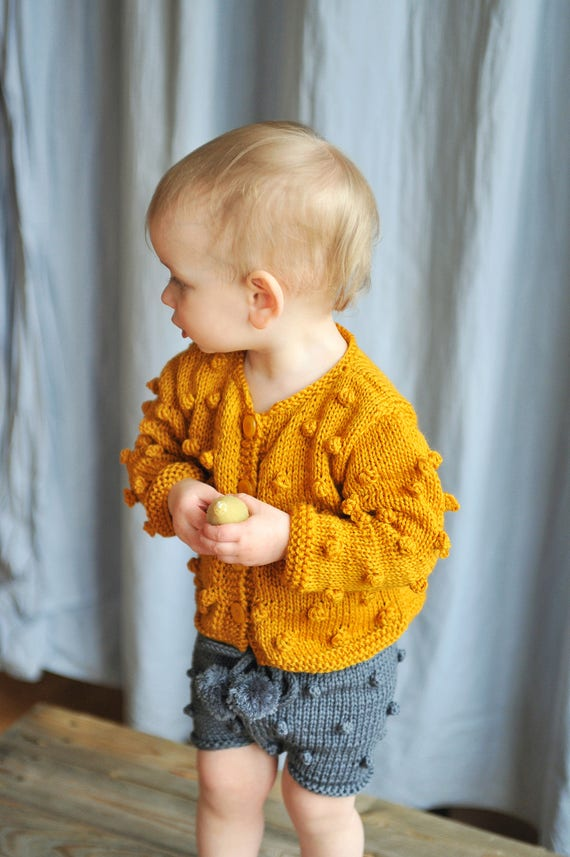 f930a09fc93c Baby   Toddler Girls Boys Hand Knitted Mustard Bobble Popcorn