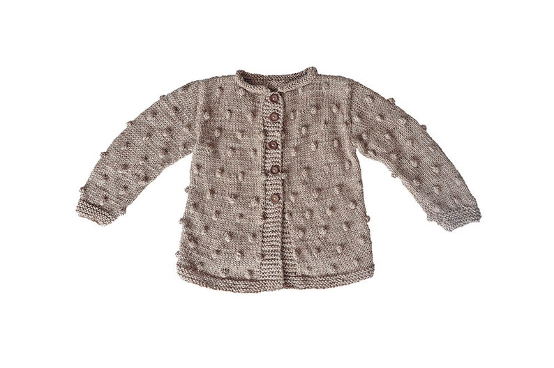 e01acdf8daad Toddler Baby Girl Sweater brown beige hand Knitted cardigan