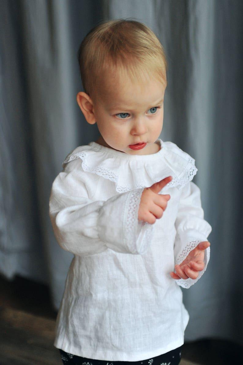 4c885b2d31373 Bébé   enfant en bas âge garçons filles blanc lin chemise Top