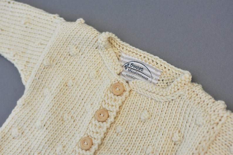 c2bfae7be1c9 Newborn Baby Girls Boys Hand knitted organic Wool Cardigan