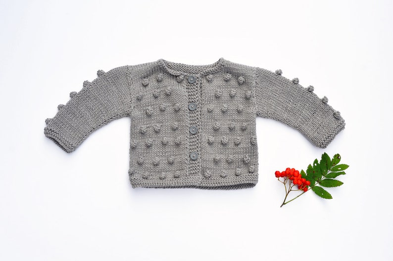 a4bb90a812f3 Toddler Baby Girl Sweater grey hand Knitted cardigan warm