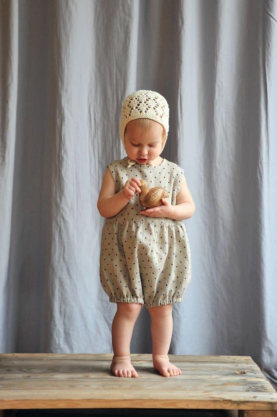 eacaeb678 Baby   Toddler Girls Boys Natural Linen Gray Polka Dot Romper