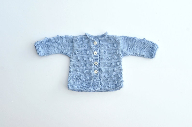 c7995256a0b8 Baby Boy Girl hand Knitted pastel light blue wool warm Fall