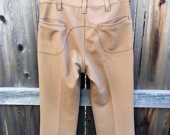 Vintage saddleback pants Lee 31 waist, 1970s Lee slacks, 70s retro leisure pants 60s 1960s, khaki tan brown, vtg Lee pants polyester, 31x29
