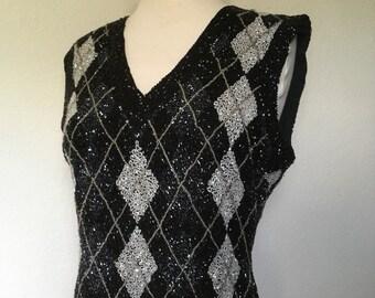 a74d13d1d7ab8 Vintage black beaded silk blouse argyle beaded top sleeveless v neck 80s  90s silk top geometric pattern black white silver M