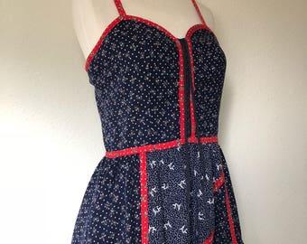 Gunne Sax origami crane dress, Jessica McClintock, 70s sundress 1970s calico, prairie western, corset laced peasant, hippie folk boho, small