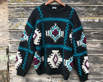 vintage 70s80s bohemian knit pull over sweater vintage gray and white southwestern navajo print knit boho hippie sweater