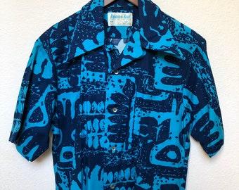 81a70721c 70s vintage Hawaiian shirt men S/M 1970s Aloha shirt retro blue Hawaii shirt  tribal print Polynesian Tiki shirt Kona Kai by Jantzen gift man