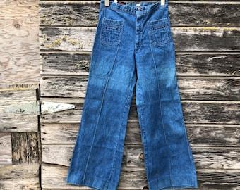 96cde71f65 70s vintage bell bottom jeans Landlubber high waist 26