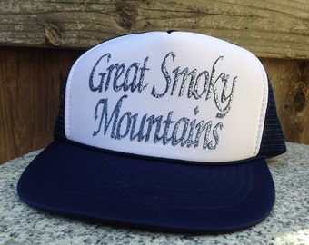 Vintage Great Smoky Mountains hat navy blue mesh flat brim snapback grunge trucker  hat ecf16d8b9bed