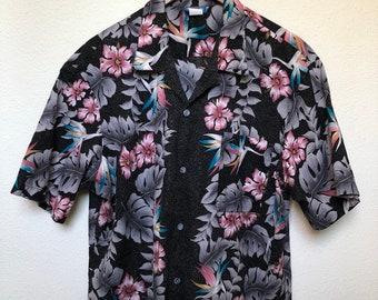 2ad66bce Vintage Hawaiian shirt XL 80s Aloha shirt 1980s floral print palm leaf vtg  vaporwave turquoise pink black grey oversized button up gift him