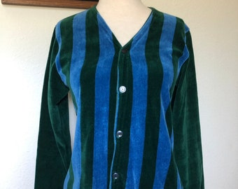 a84d74249776 Vintage velour striped cardigan v-neck 70s disco green blue 1970s vertical  stripe long sleeve velvet cardigan 80s 1980s retro XS S small