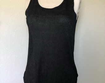 08c96105bd9e7e Vintage metallic black mesh top Cache 80s 90s