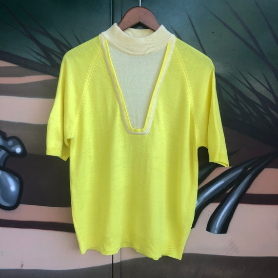 Vintage mod knit mock neck sweater neon yellow flu