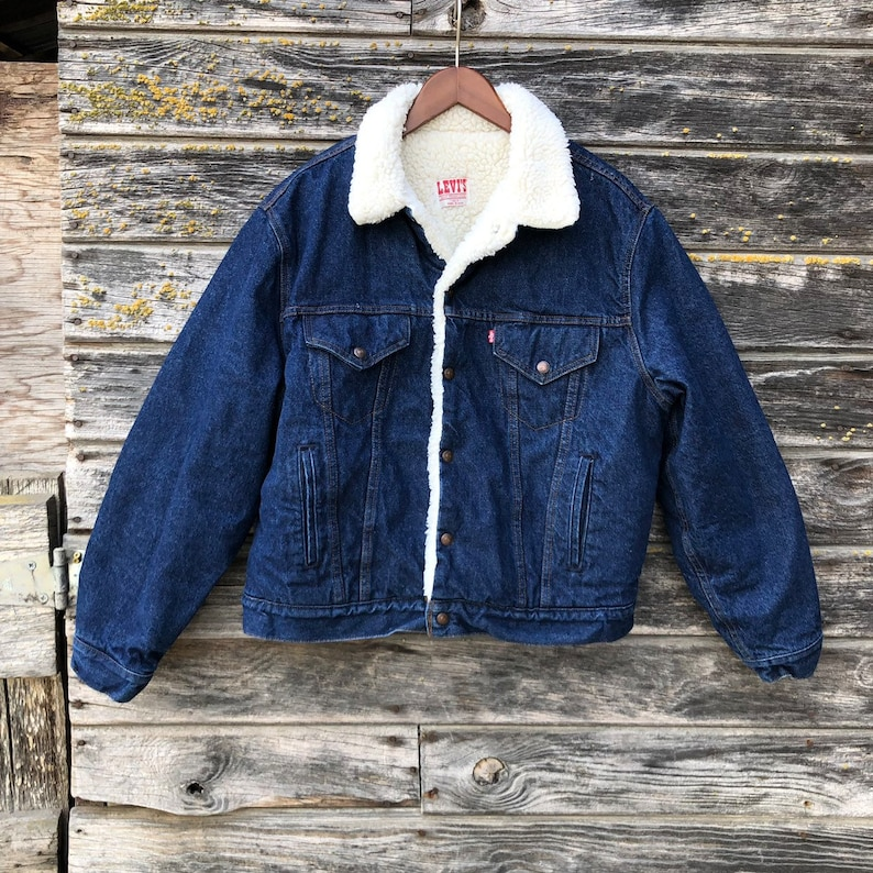 720265118 Vintage Levi's sherpa denim trucker jacket dark wash men L 46 Levis jean  jacket fleece 80s 90s grunge Levi red tab rockabilly rocker gift