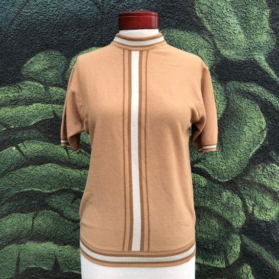Vintage mod sweater brown striped mock neck  knit