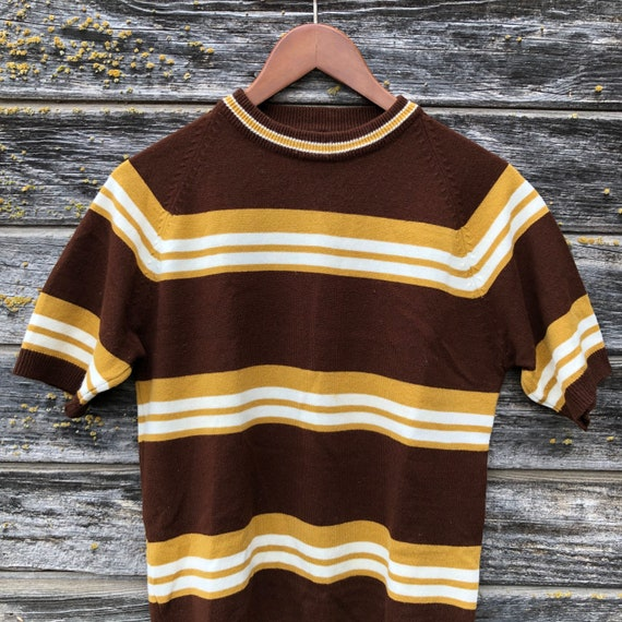 Vintage mod striped sweater shirt sleeve brown mus