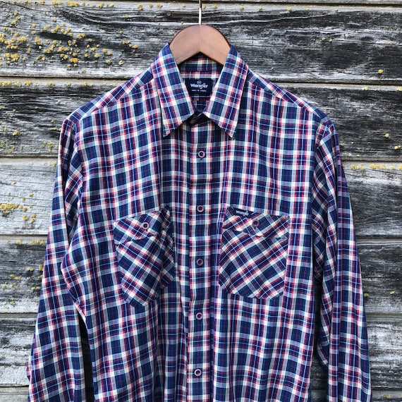 Mens check shirt blue green tartan plaid cotton checked hipster short sleeve button down up Vintage 90s Summer Size small 37 inch chest