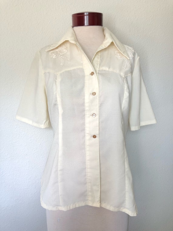Vintage embroidered blouse cream ivory 70s 970s fl