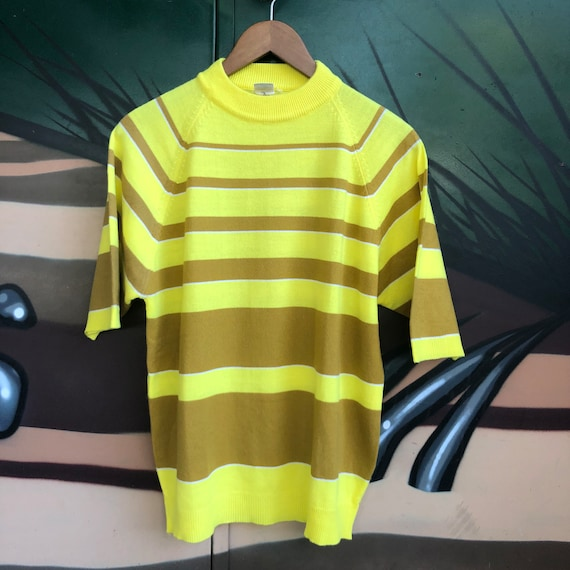 Vintage yellow striped sweater short sleeve 60s mo