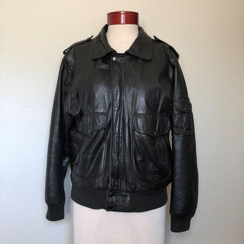 ada9c1ed4 Vintage black leather bomber jacket M/L 80s Delta 1980s vtg aviation pilot  jacket, motorcycle biker 90s grunge 1990s men 42